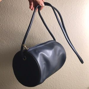 Handbags - Navy Cylinder Bag